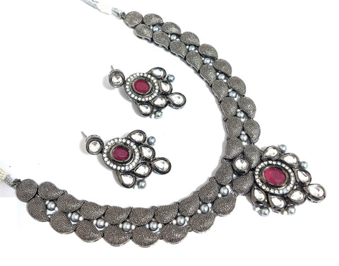 Black polished Designer Choker Necklace and Earring set - Bollywood Celebrity Design