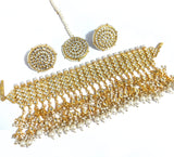 Bold kundan collar necklace and earring set with Maang Tikka - Celebrity design