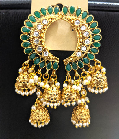 Multiple jhumka dangling Crescent design polki stone long earring