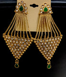 Antique gold polished inverted triangle dangling polki stone long earring