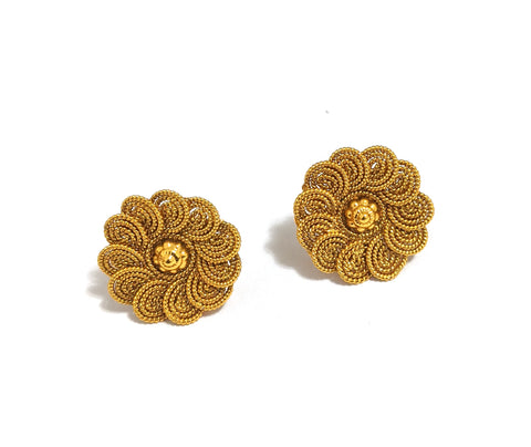 Center flower Spiral design Traditional Gold stud Earring
