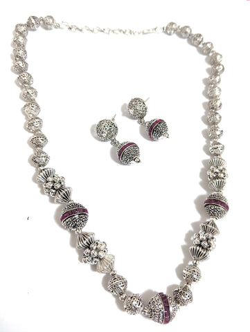 Bright Oxidized silver ball bead Chain Necklace and Earring set - Design 2