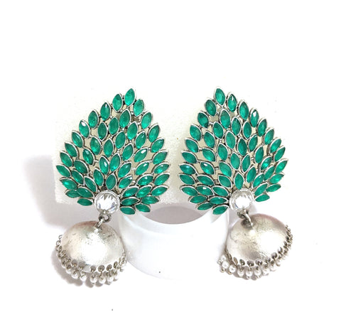 Silver matte finish Oxidized designer large stud with small jhumka Earring