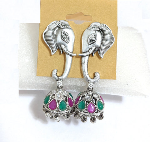 Oxidized Elephant face stud with small jhumka Earring