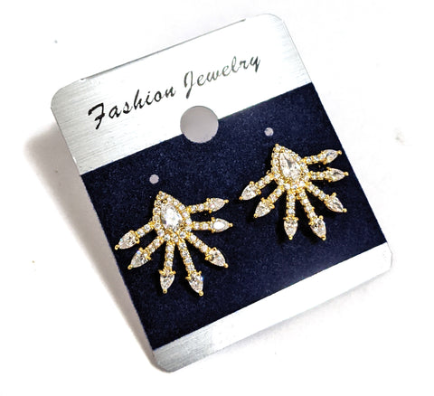 Spike design CZ stud earring