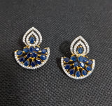Designer Arc one gram gold CZ stud earring