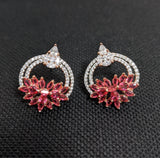 Rose gold polished designer cz stone stud earring
