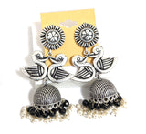 German silver dual swan jhumka with bead dangling earring