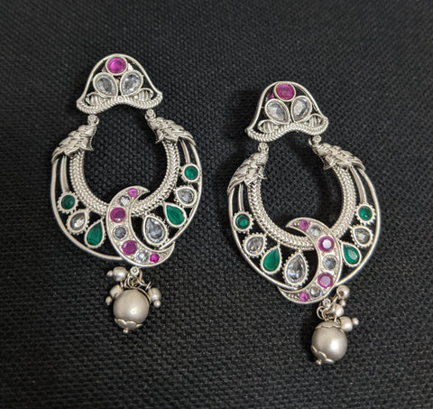 Bright Silver matte polished Crescent chandbali earring
