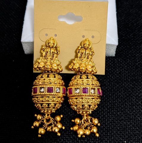 Goddess Lakshmi stud with elongated ball dangle earrings