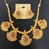 Chandelier charm surrounded choker necklace and earring set