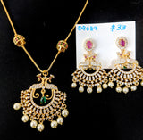 One gram gold plated ball chain necklace with peacock pendant and Earring set - Design 2