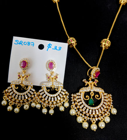 One gram gold plated ball chain necklace with peacock pendant and Earring set - Design 1