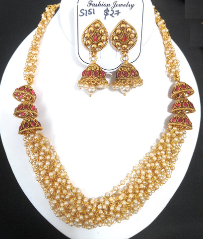 Multi stranded mini pearl bead chain with triple jhumka side pendant necklace and jhumka earring set