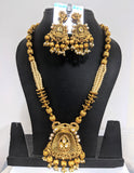 Yellow Matte gold finish bead chain Necklace and Earring set - Design 2