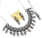Hexagon shaped charm choker Necklace and Earring set with Maang Tikka- Black plating