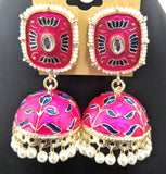 Rectangle stud with enamel filled jhumka earring