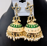 Kundan like stone tear drop small stud with large meenakari work jhumka earring