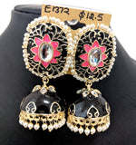 Elongated oval stud with heart enamel jhumka earring