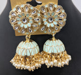 Flower stud with pearl cluster bead dangling jhumka earring