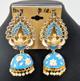 Dancing peacock stud with lotus enamel design jhumka earring