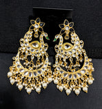 Yellow gold polished Swan and Chandelier design long earring
