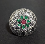 Oxidized silver with polki stone embedded flower embossed adjustable Finger ring