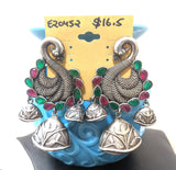 Silver look alike oxidized large peacock stud with small jhumka hanging trendy earring