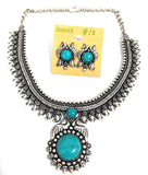 Oxidized silver choker necklace with color resin bead pasted pendant and stud earring set