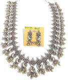 Guttapusalu style Oxidized silver long chain haram Necklace and stud earring set