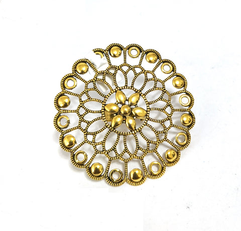 XXL Size Antique gold Oxidized flower Round Adjustable Finger ring