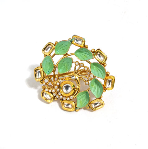 Matte Meenakari work Peacock design Traditional adjustable Finger ring