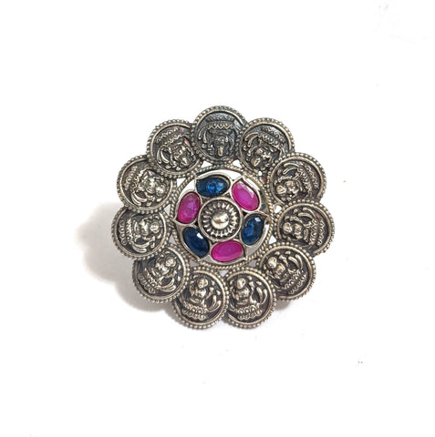 Large Size German silver Goddess Lakshmi Adjustable Finger ring