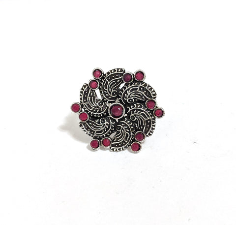 Medium Size German silver Peacock like flower design Adjustable Finger ring