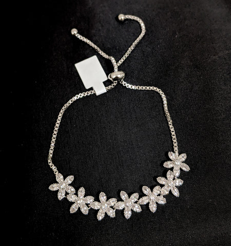 Multiple flower linked white cz stone Platinum finish Adjustable Bracelet