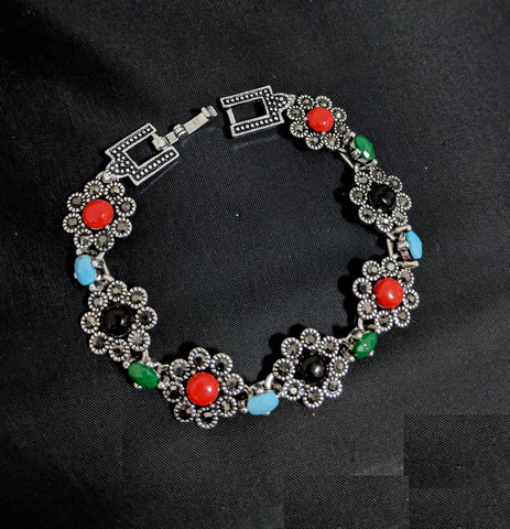 Antique Silver finish multi color resin bead pasted flower design Bracelet