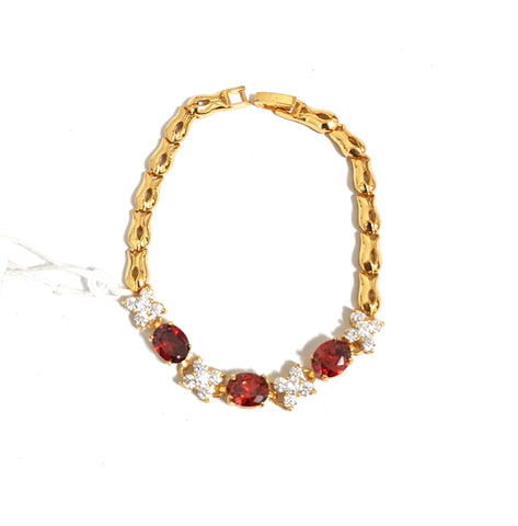 Red and White Cz stone gold finish Bracelet
