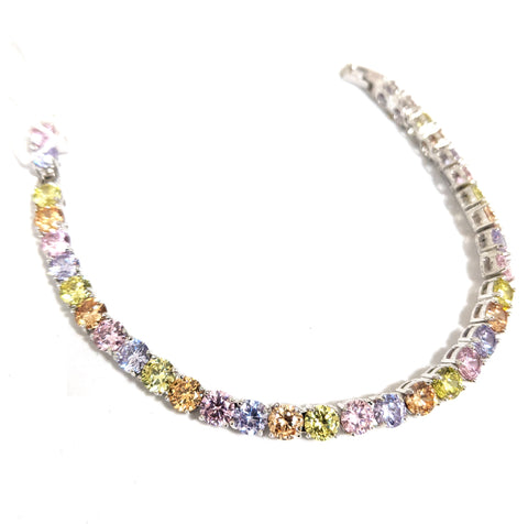 Multi color Cz stone platinum finish Bracelet