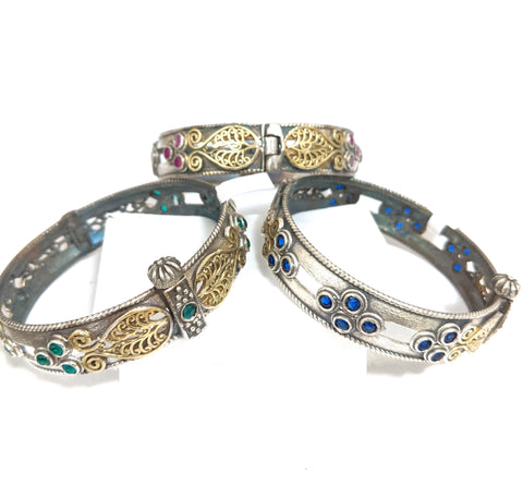 Oxidized dual tone antique gold n silver designer bangle kada