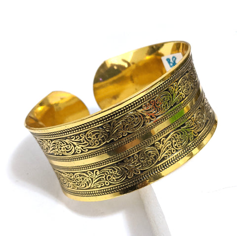 Antique gold finish oxidized broad kada - Design 1