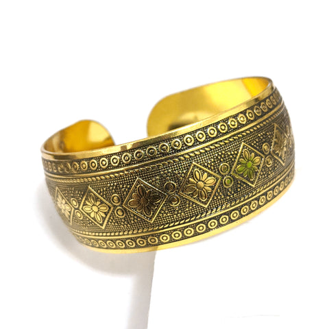 Antique gold finish oxidized broad kada - Design 6