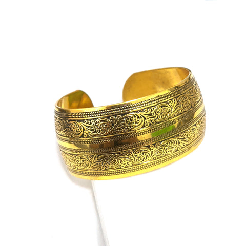 Antique gold finish oxidized broad kada - Design 4