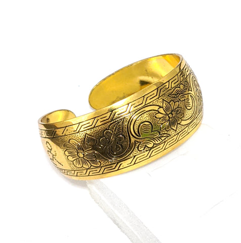 Antique gold finish oxidized broad kada - Design 5