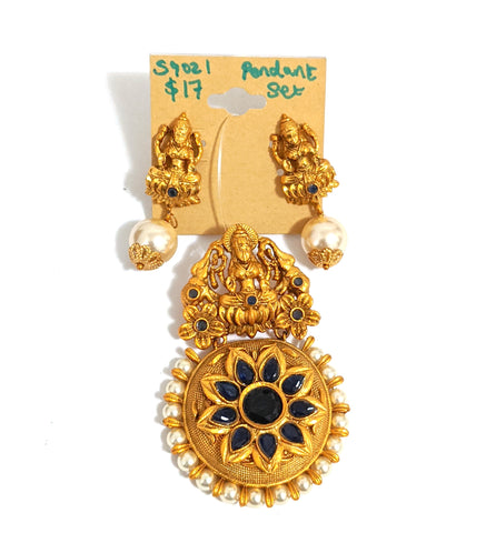 Traditional Goddess Lakshmi Pendant and Stud Earring Set - Matte gold finish - Simpliful