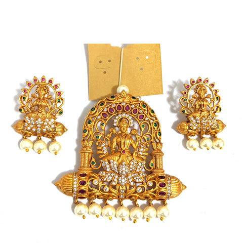 Traditional Goddess Lakshmi Large Pendant and Stud Earring Set - Matte gold finish