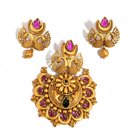 Traditional dual Peacock Pendant and Stud Earring Set - Matte gold finish