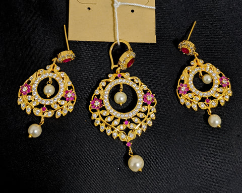 One gram gold polished leaf design Pendant and Earring Set with cz stones