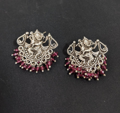 Antique matte silver finish  Lord Ganesha stud earring