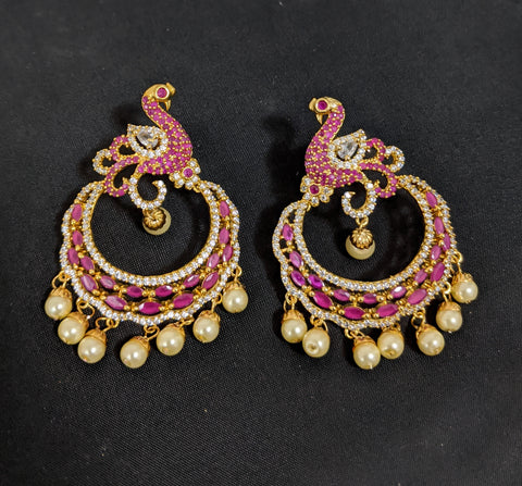 Peacock design - One gram gold plated cz stone embedded Traditional Ramleela style Earring