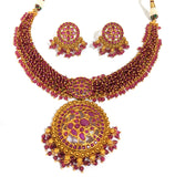 Traditional Peacock Pendant with crystal bead choker necklace and stud earring set